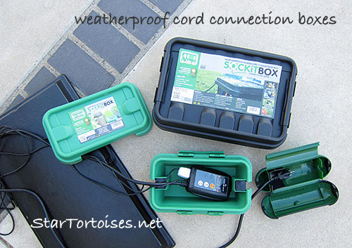 weatherproof power cord connection boxes